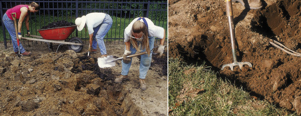 Left: Don't worry about planting among still-whole chunks of clay. Plant alongside them or break them in half and fit them, plus decaying mulch around the new root balls as backfill. Right: Use a garden fork to loosen the bed.