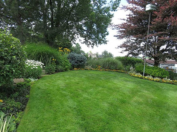 The lawn is framed by a mixed border of perennials, grasses, and shrubs, designed by Beth Rubinstein.