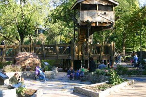 Many activities abound in the children's garden, including a tree house.