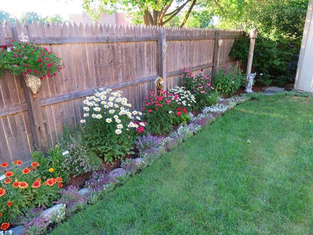 The garden that borders the side yard (and their dog's grassy playground) is only two years old. Some of the plants are from Nancy's father.