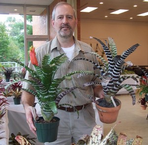 Paul Wingert displays a few of his plants at the 2010 Bromeliad Show at Matthaei Botanical Gardens.
