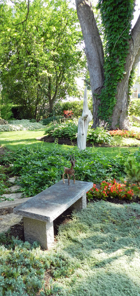 This view is full of texture: a little wire animal perches on a stone bench while the stark driftwood piece draws the eye upward to the massive old sugar maple tree. Tiny-leaved creeping thyme groundcover anchors the scene.