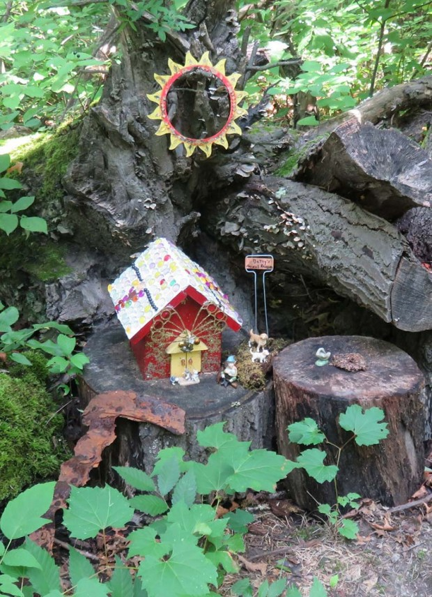 Many gnome homes line the woodland path.
