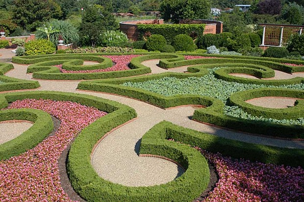 The meticulous plantings in the boxwood garden are breathtaking.