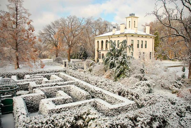"The hedges and borders in the Victorian district are dusted with a gentle winter snow, which highlights the garden's ""bones."""