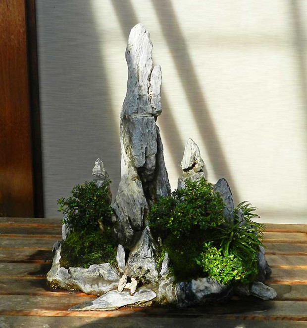 """Penjing is a more inclusive form of creating miniature landscapes developed in China. It can include rocks, water, representative landscapes or individual plants. Penjing compositions often include small figures—humans or animals—to give a sense of scale,"" said Matthaei Director Bob Grese."