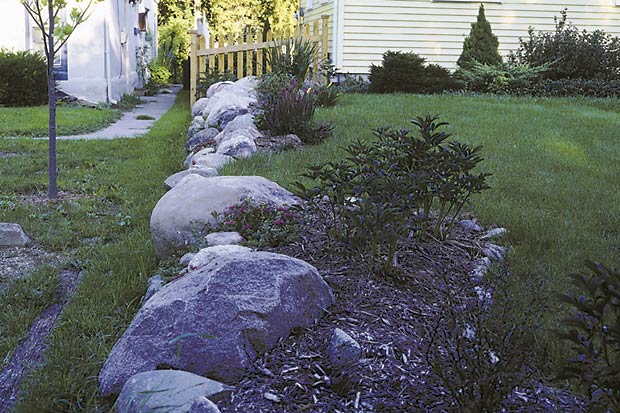Even within a narrow rectangle, an edge planting can have a curvaceous top or side. These beds of peonies, Veronica and Sedum form a wavy line along an edge that could have been a boring rectangle.