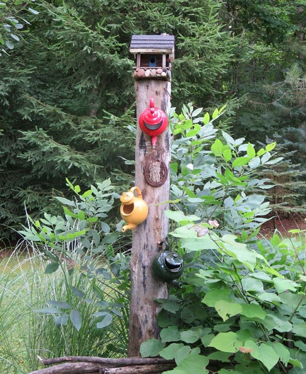 Three teapots have found new lives as birdhouses.